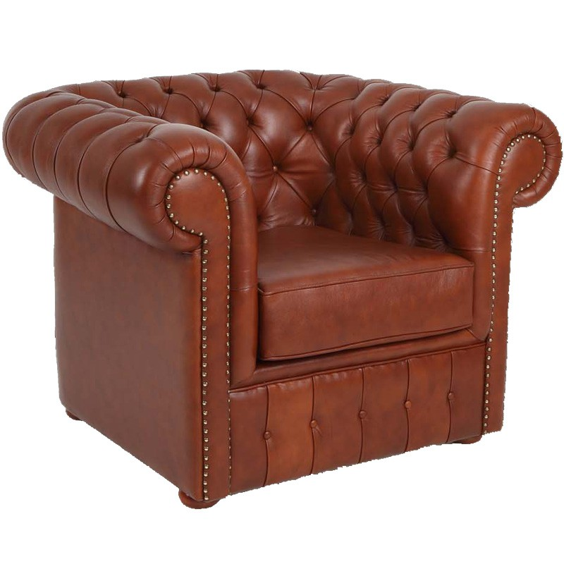 Fauteuil cuir marron chesterfield univers du salon - Salon chesterfield cuir ...