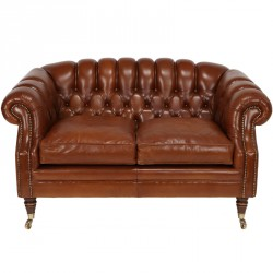 Canapé marron 2P Chesterfield à roulettes - COVENTRY