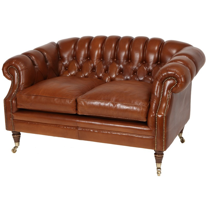 canap 2p chesterfield en cuir avec roulettes coventry. Black Bedroom Furniture Sets. Home Design Ideas