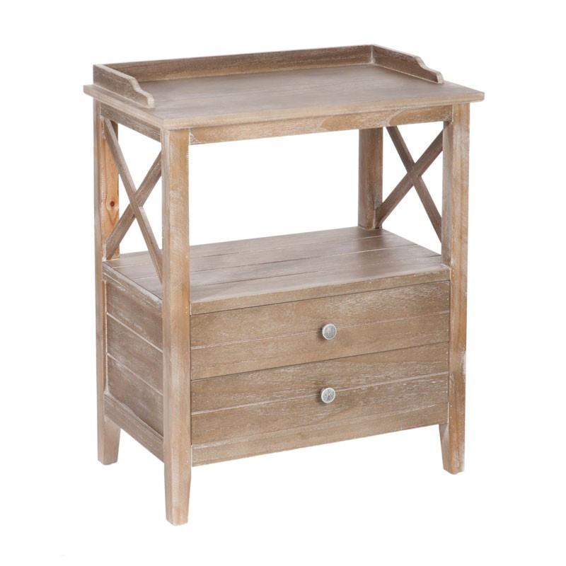 Table de chevet 2 tiroirs bois cérusé blanc FERRET - Univers Chambre : Tousmesmeubles