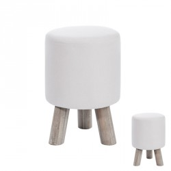 Duo de poufs ronds Blanc - BILLY