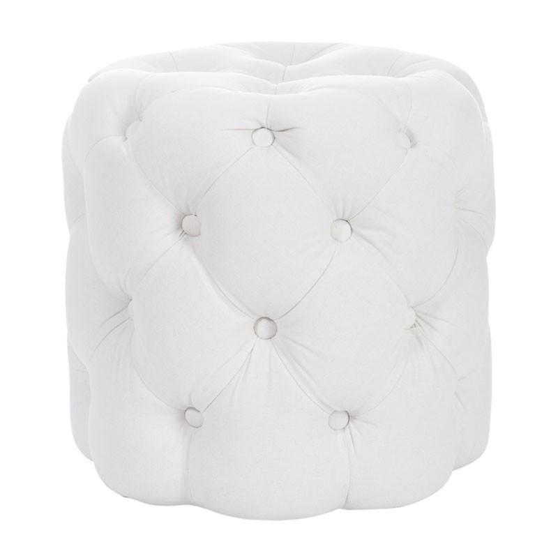 Pouf rond bois coton Blanc - Univers Salon et Assises : Tousmesmeubles