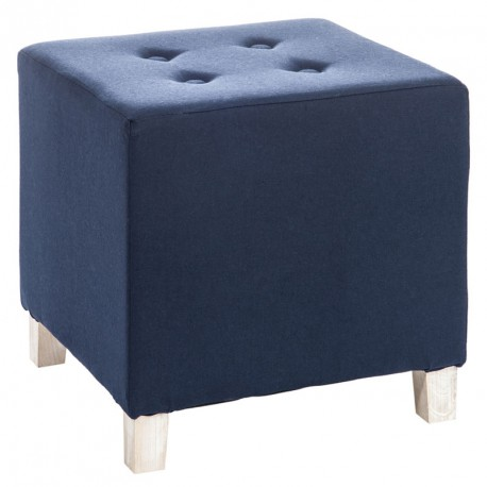 Pouf carré bois coton Bleu - Univers Salon et Assises : Tousmesmeubles