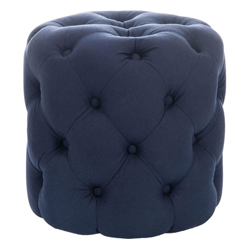 Pouf rond capitonné Bleu - CAPPY