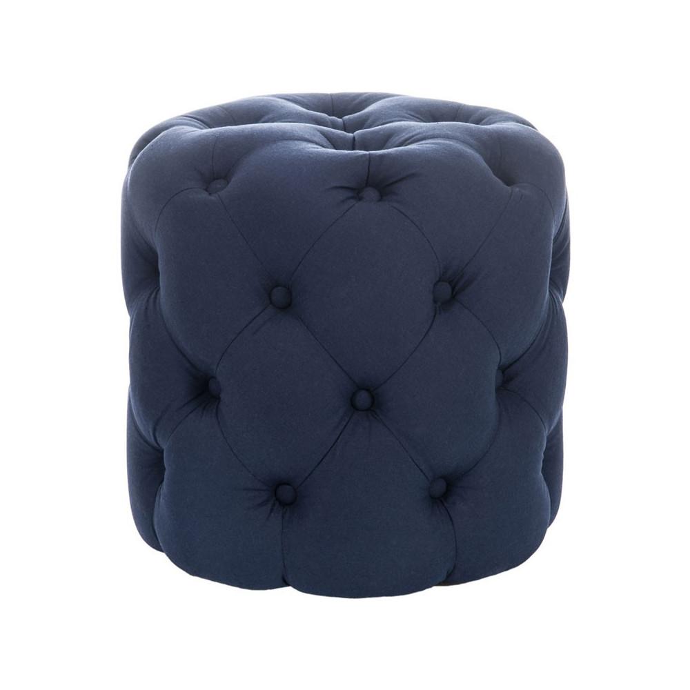 Pouf rond bois coton Bleu - Univers Assises et Salon : Tousmesmeubles