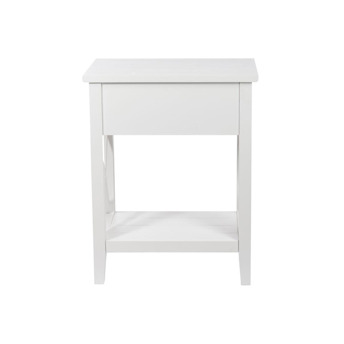 duo de tables de chevet 1 tiroir bois blanc ferret univers chambre. Black Bedroom Furniture Sets. Home Design Ideas