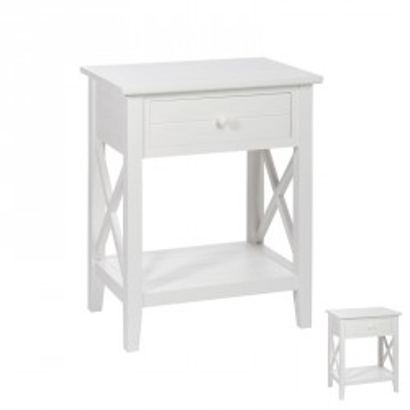 Duo de tables de chevet 1 tiroir bois Blanc FERRET - Univers Chambre : Tousmesmeubles