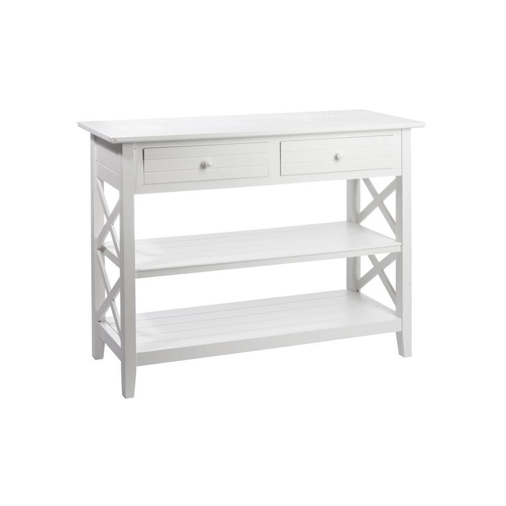 Console 2 tiroirs bois Blanc FERRET - Univers Petits Meubles : Tousmesmeubles