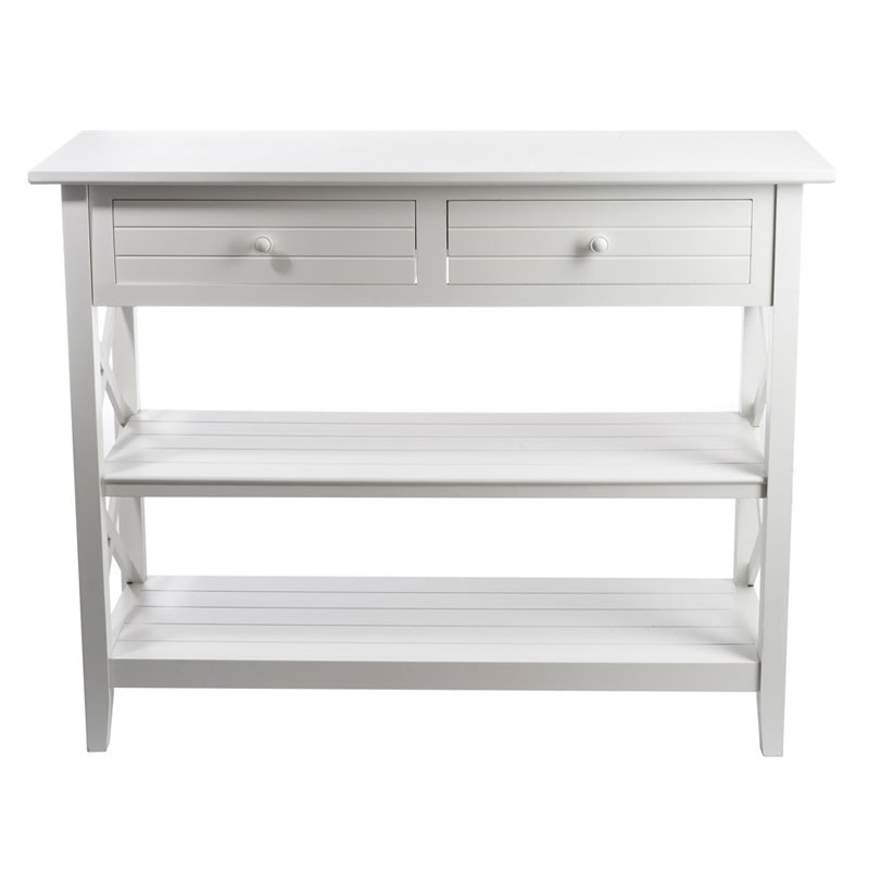 console 2 tiroirs blanc bois massif ferret univers petits meubles. Black Bedroom Furniture Sets. Home Design Ideas