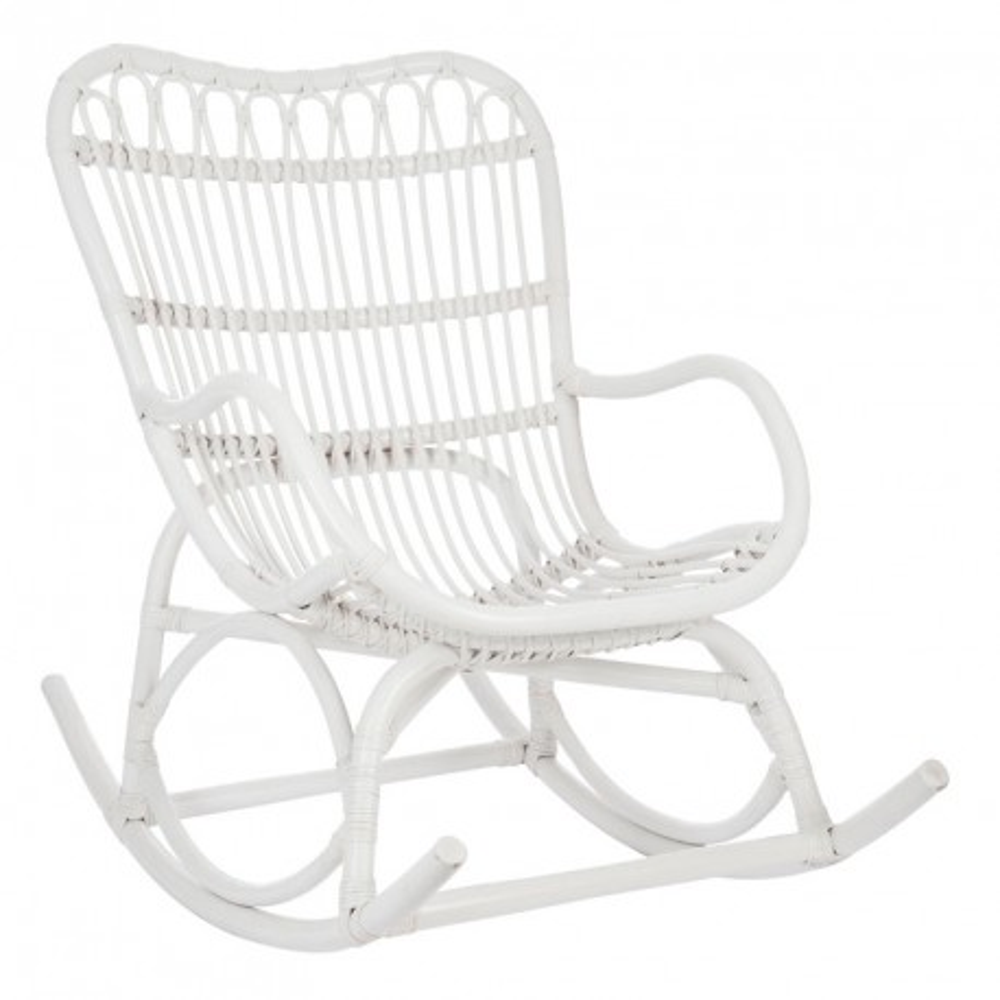 Rocking Chair Rotin blanc - RICKY