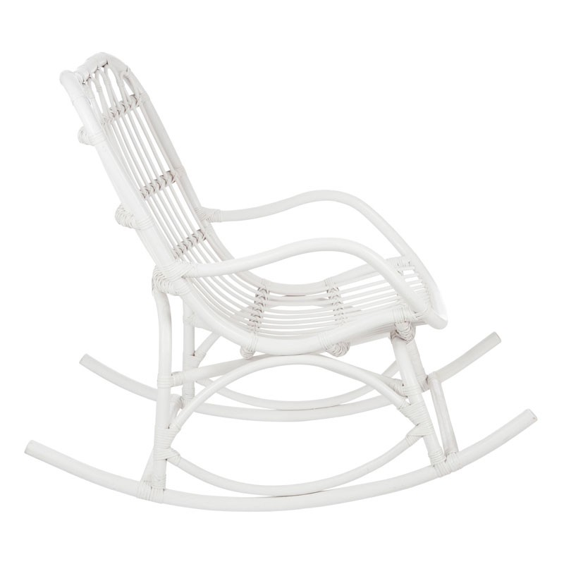 rocking chair bois rotin blanc ricky univers assises et salon. Black Bedroom Furniture Sets. Home Design Ideas