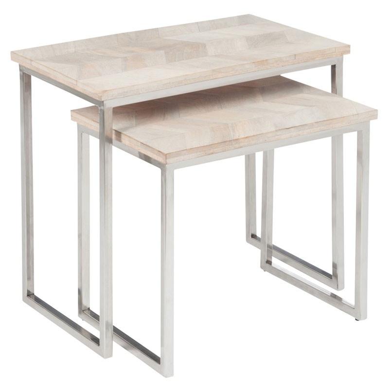Tables gigognes bois blanchi chevrons - Univers Petits Meubles et Salon : Tousmesmeubles
