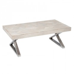 Table basse bois inox chevrons - Univers Salon : Tousmesmeubles