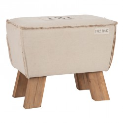Pouf bois naturel coton Beige - Univers Salon et Assises : Tousmesmeubles