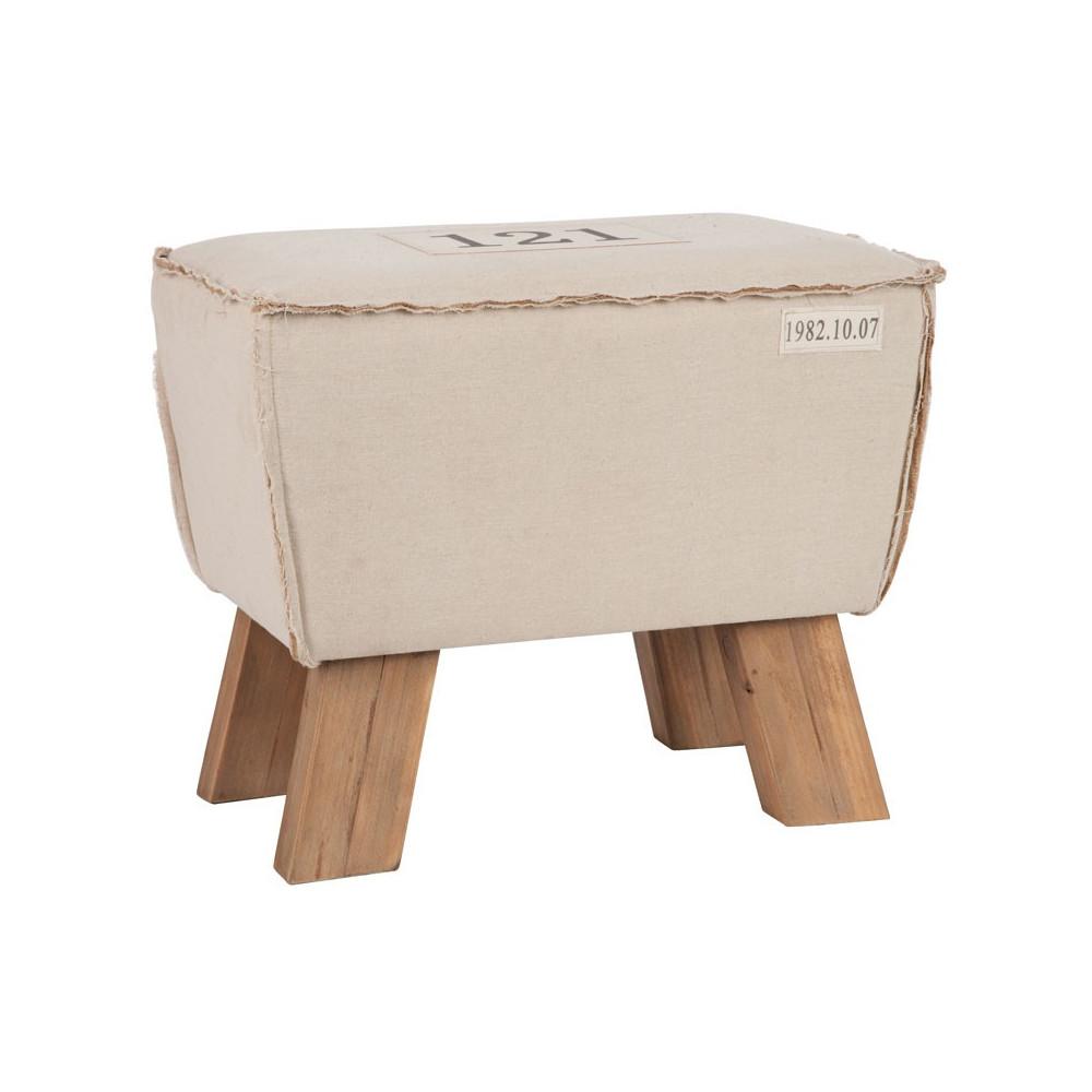Pouf bois naturel coton Beige - Univers Salon et Assises : Tousmesmeubles