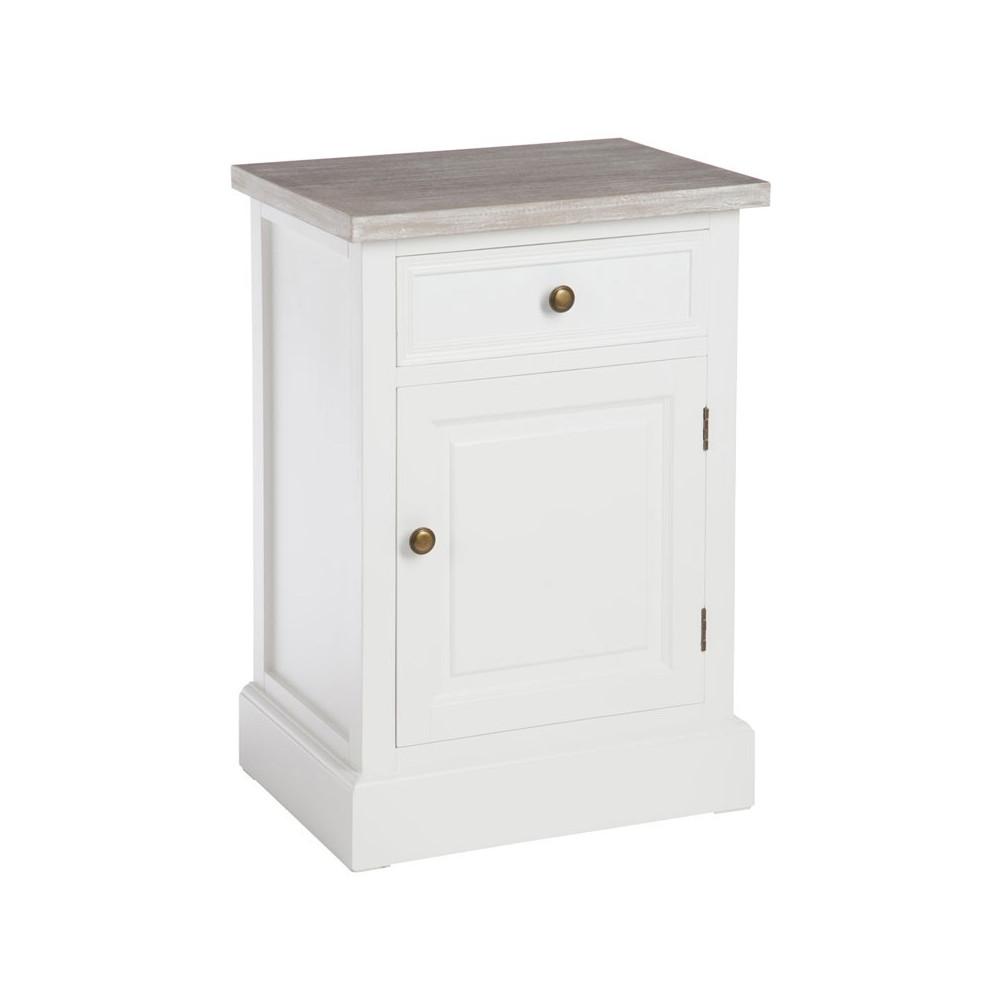 table de chevet 1 porte 1 tiroir bois blanc et naturel univers chambre tousmesmeubles