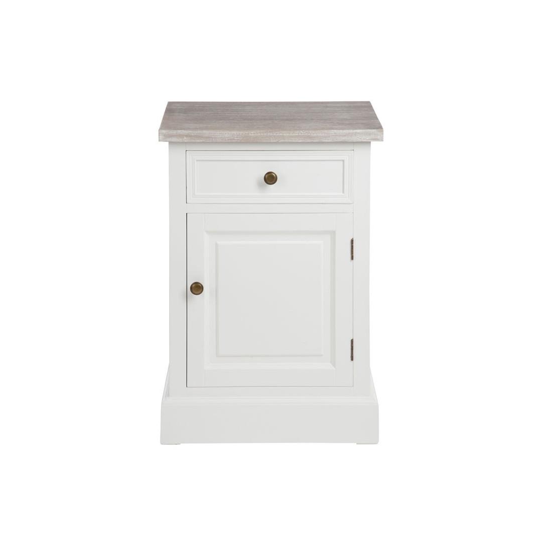Table de chevet bois c rus 1 porte 1 tiroir regus univers chambre - Table de chevet bois blanc ...
