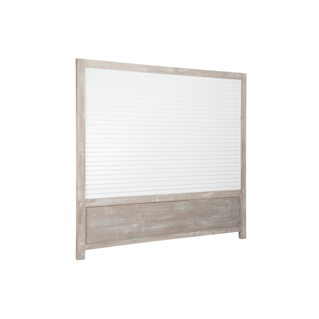T te de lit r versible bois c rus blanc gris regus univers chambre - Tete de lit en bois blanc ...