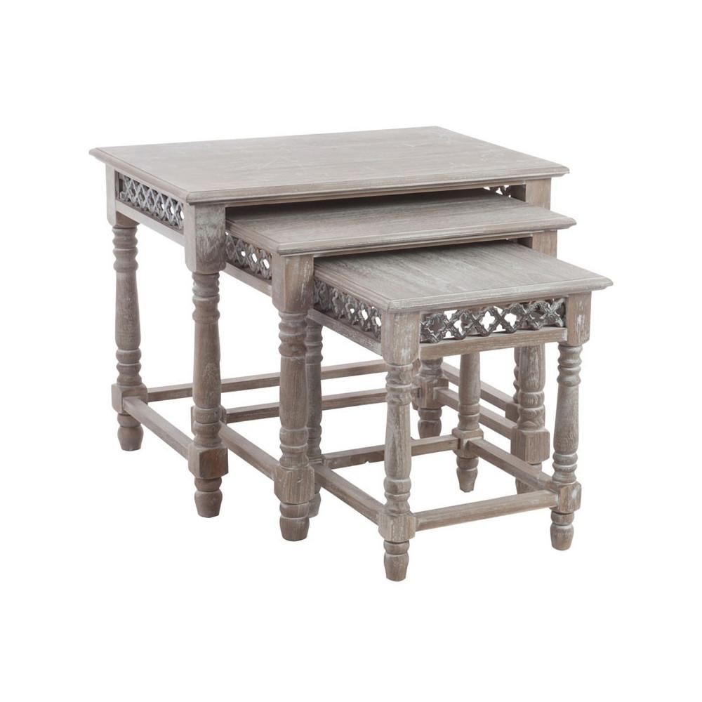 Tables gigognes bois naturel - Univers Salon et Petits Meubles : Tousmesmeubles