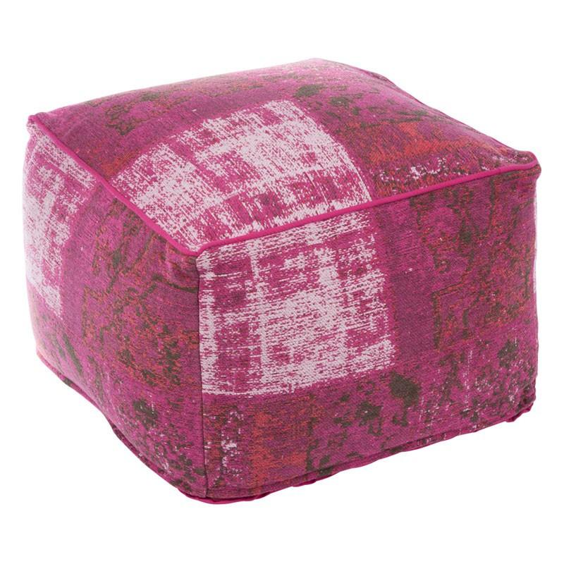 Pouf Rose coton chenillé - Univers Salon et Assises : Tousmesmeubles