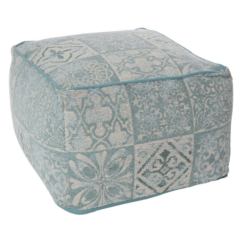 pouf patchwork gris bleu coton sacco univers assises et salon. Black Bedroom Furniture Sets. Home Design Ideas