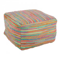 Pouf coton multicolore - Univers Salon et Assises : Tousmesmeubles