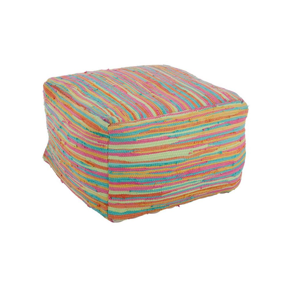 Pouf coton multicolore - Univers Salon et Assises : Tousmesmeubles