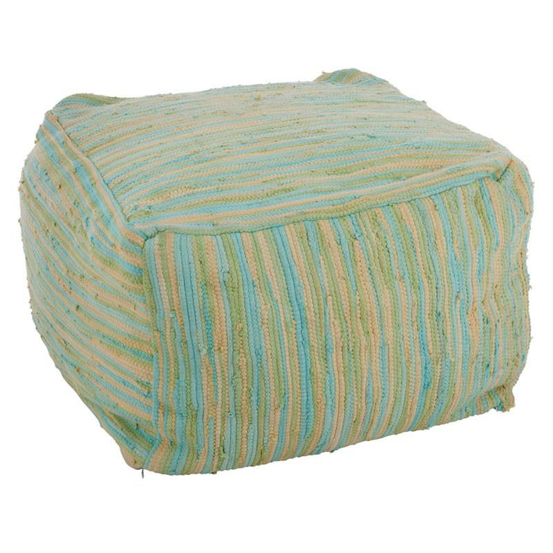 Pouf coton multicolores vert bleu - Univers Salon et Assises : Tousmesmeubles