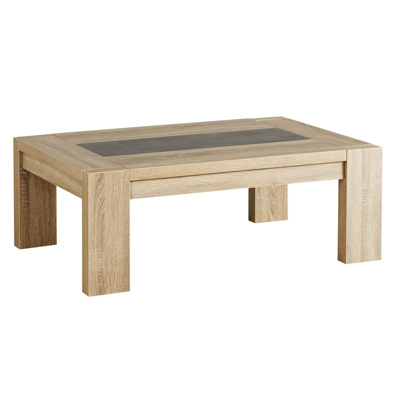Table basse bois ch ne brut b ton cir athias univers salon - Table basse bois chene ...