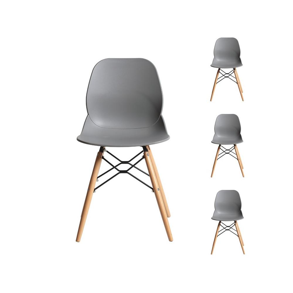 Quatuor de chaises Grises contemporain moderne pour salle à manger, vendu par 4 - Univers des assises et de la salle à manger