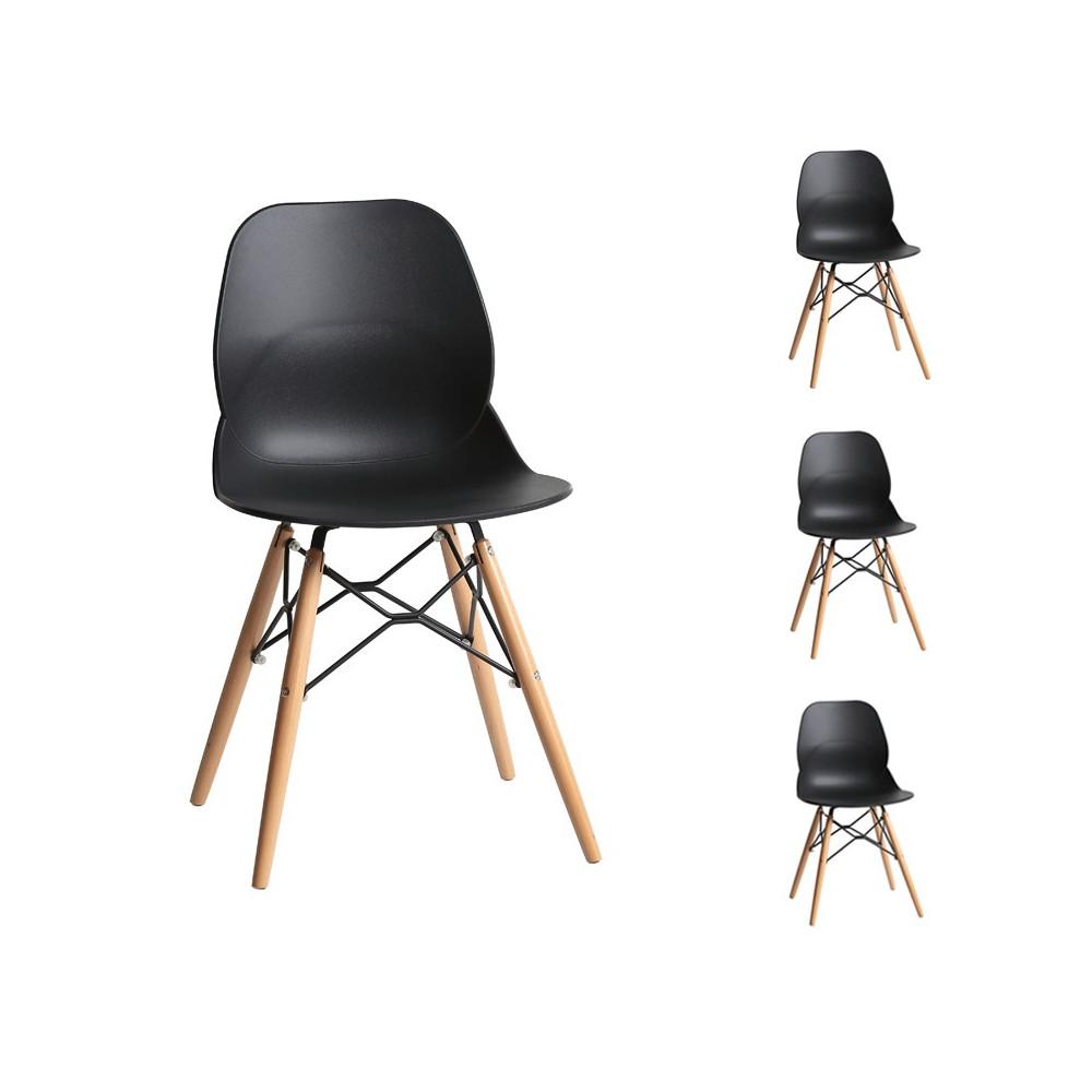 Quatuor de chaises Noires contemporain moderne ABS bois design - Univers des Assises et de la Salle à Manger