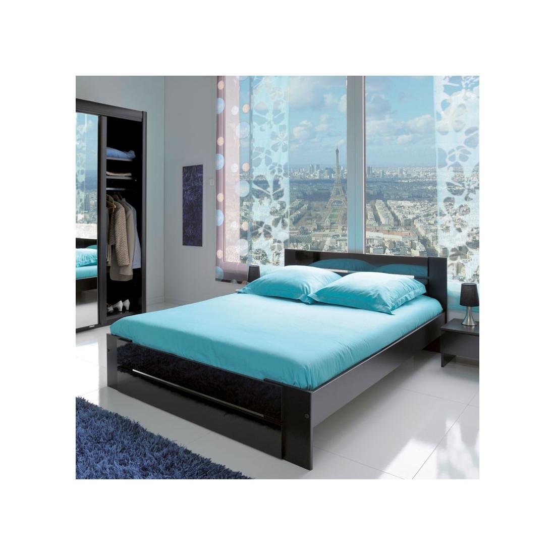 cadre de lit t te de lit 160 200 noir carlack univers. Black Bedroom Furniture Sets. Home Design Ideas