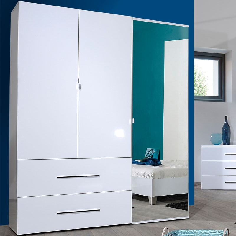 armoire dressing 3 portes 2 tiroirs laqu blanc uno univers chambre. Black Bedroom Furniture Sets. Home Design Ideas