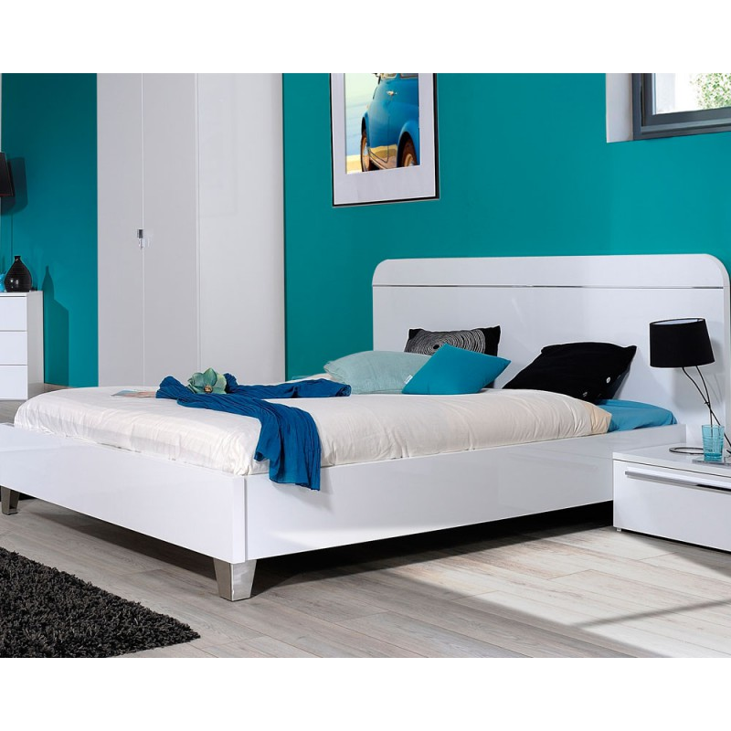 cadre de lit t te de lit 160 200 laqu blanc uno univers chambre. Black Bedroom Furniture Sets. Home Design Ideas