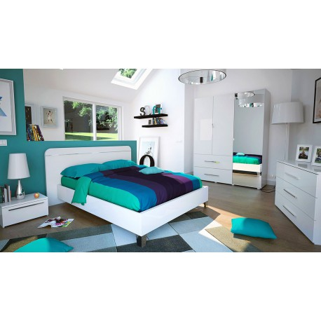 Chambre adulte compl te 160 200 laqu blanc uno - Chambres adultes completes ...