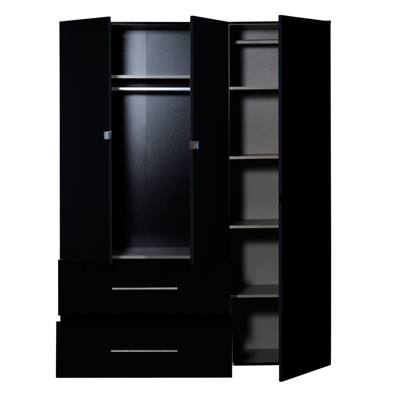 armoire dressing 3 portes 2 tiroirs laqu noir uno. Black Bedroom Furniture Sets. Home Design Ideas