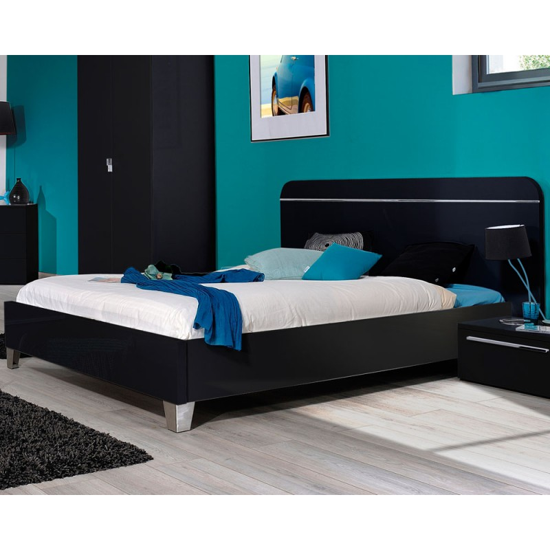 cadre de lit t te de lit 180 200 laqu noir uno. Black Bedroom Furniture Sets. Home Design Ideas