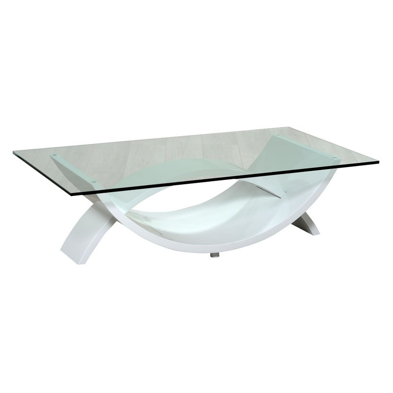 Table basse en verre dauphin - Table en verre rectangulaire ...