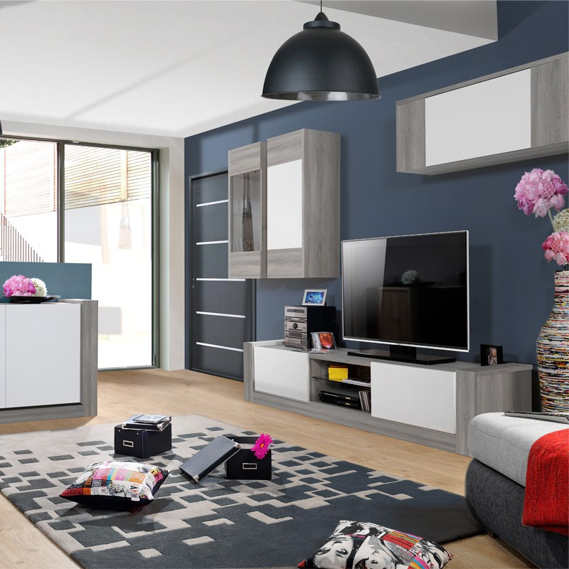 meuble tv 2 portes bois ch ne gris blanc norton. Black Bedroom Furniture Sets. Home Design Ideas
