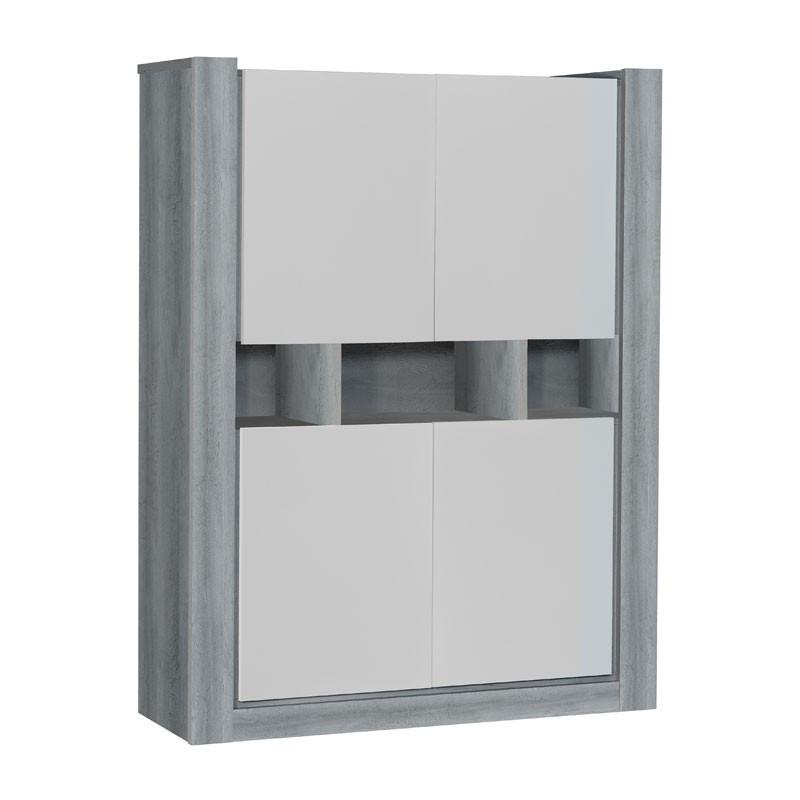 Armoire de salon 4 portes bois Gris laqué blanc mat NORTON - Univers Salle à Manger : Tousmesmeubles