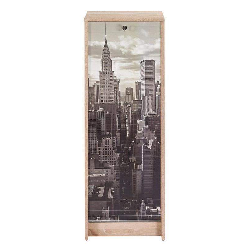 Classeur à rideaux bois clair blanc et noir - Univers Bureau : Tousmesmeubles
