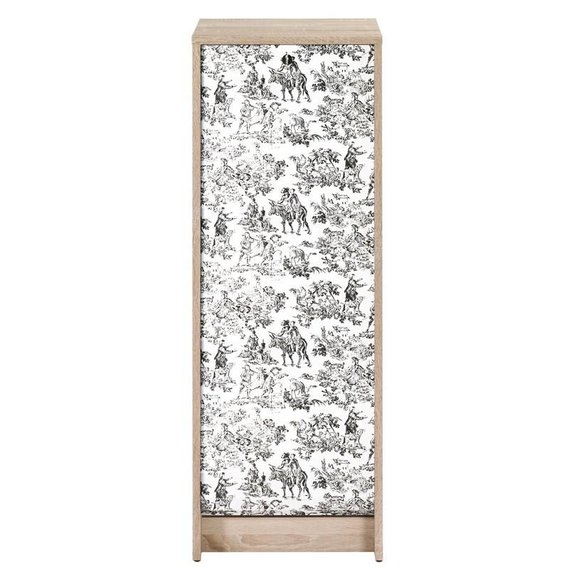 Classeur à rideaux bois clair noir et blanc - Univers Bureau : Tousmesmeubles