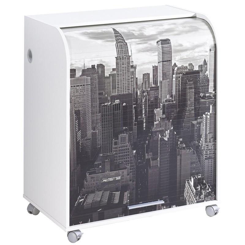 Bureau cylindre à rideau noir et blanc - Univers Bureau : Tousmesmeubles