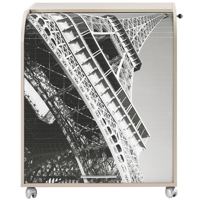 Bureau cylindre à rideau taupe noir et blanc - Univers Bureau : Tousmesmeubles