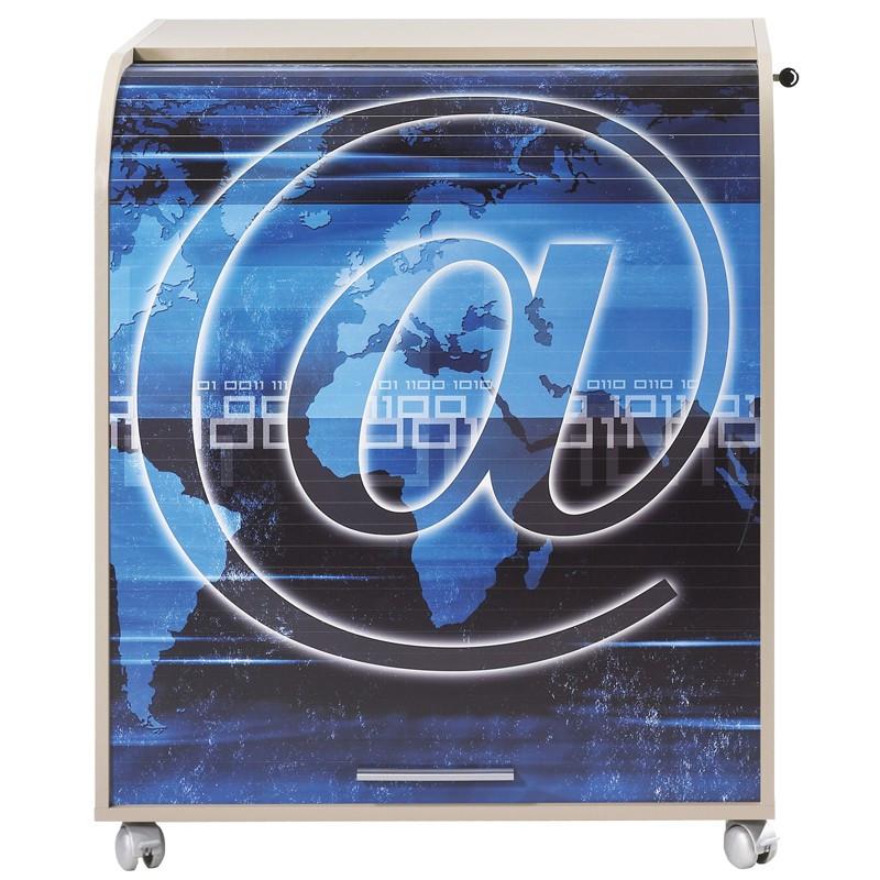 Bureau cylindre à rideau taupe et bleu - Univers Bureau : Tousmesmeubles