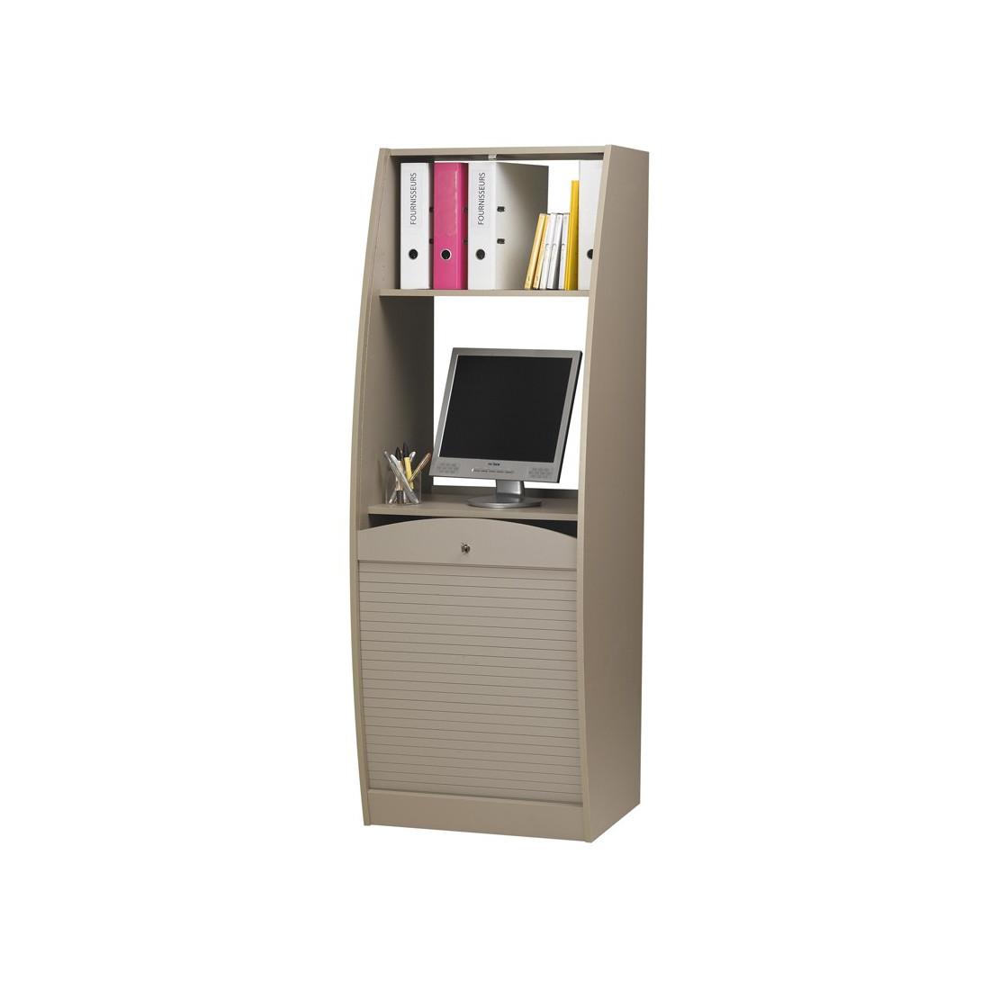 Colonne informatique à rideau Taupe taille M INFO