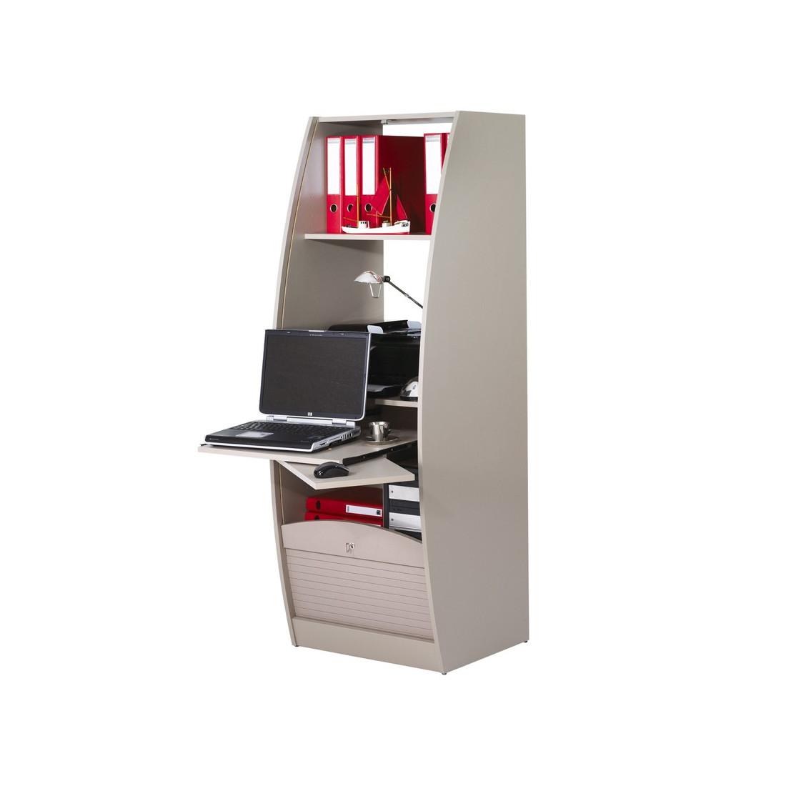 Colonne informatique à rideau Taupe taille L INFO
