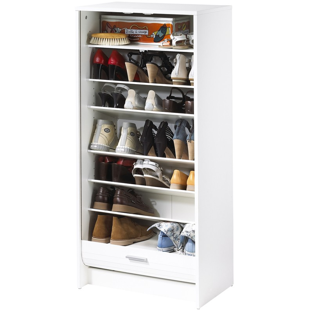 meuble chaussures rideau blanc bois shoes n 9 univers du bureau. Black Bedroom Furniture Sets. Home Design Ideas