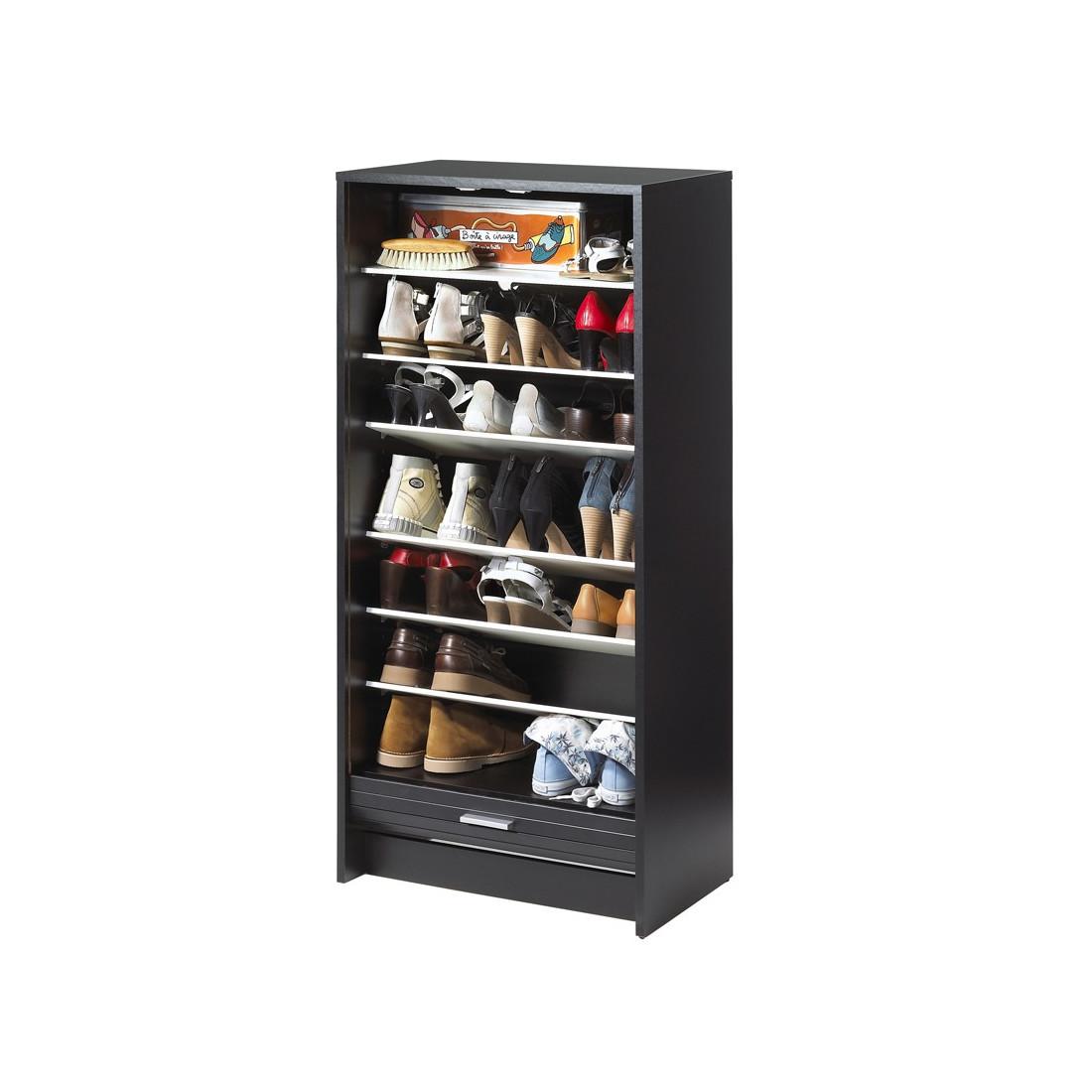 Meuble chaussures rideau noir shoes n 11 univers du - Fabrication meuble a chaussure ...