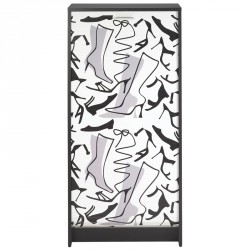 Meuble à chaussures 21 paires bois noir et blanc - Univers Petits Meubles : Tousmesmeubles